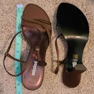 "Unlisted 4"" copper brown strappy sandals size 10"